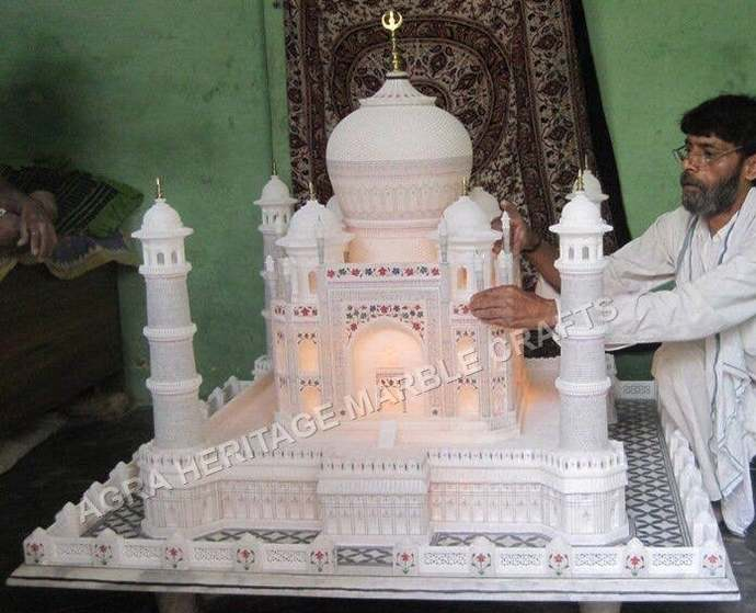 White Marble Taj Mahal Replica Statue Handmade Home Showpiece Occasional Love