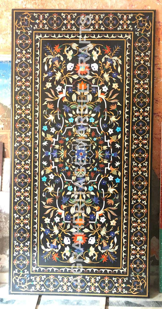 Exclusive Marble Big Dining Table Top Handicraft Inlay Floral Arts Hallway