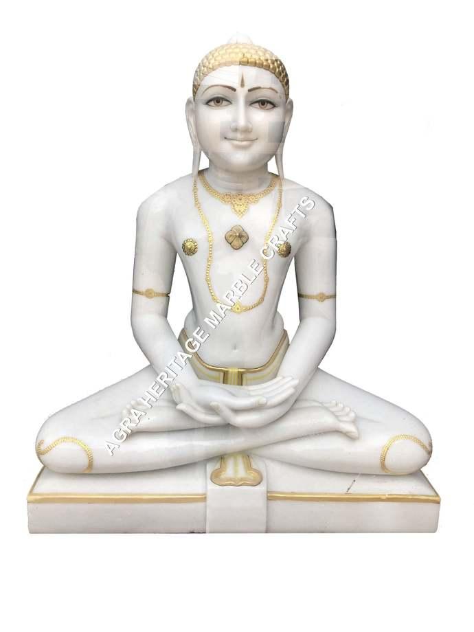 White Marble Stone Lord Big Parshwanath Idol Statue Handmade Religious Sculpture