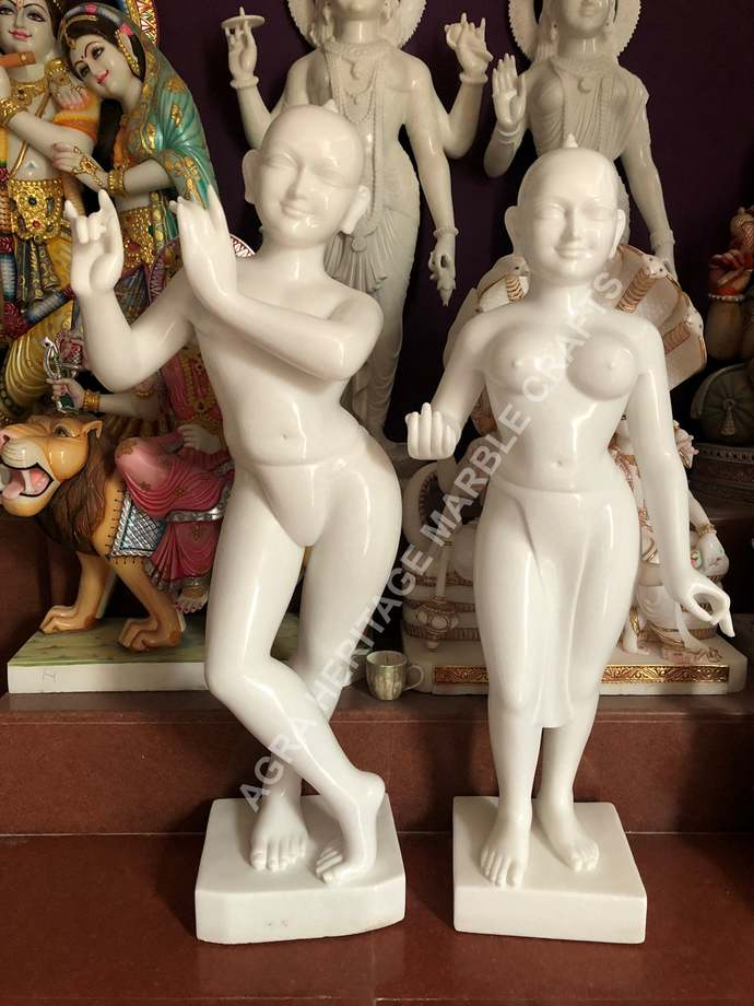 "White Marble Big Radha Krishna Statue 60"" Inch Tall Love Divine Gifts Religious"