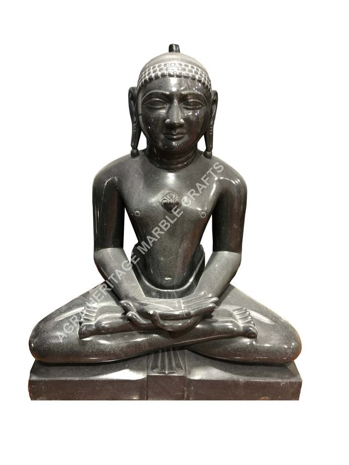 Black Marble Parshwanath Sitting Idol Statue Handicraft Sculpture Showpiece Home