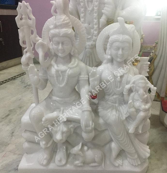 White Marble Gauri Shankar Ganesha Murti Shiv Parivar Statue Handmade Idol