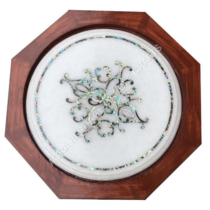 """White Marble Small Coffee Table Top With 15"""" Tall Stand Pauashell Inlay Stone"""