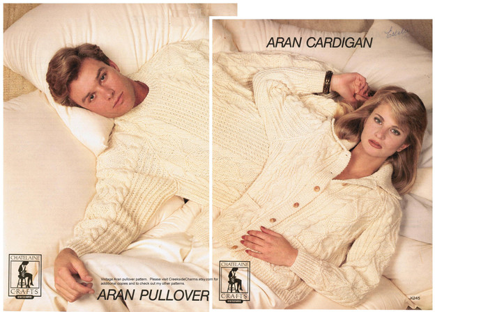 Adult Aran Cardigan and Aran Pullover Knitting Patterns (pair) / Chatelaine