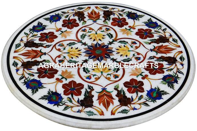 "White Marble Round 18"" Coffee Table Top Carnelian Lapis Multi Semi Precious"