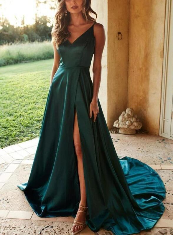 Sexy Dark Green A-Line Simple Satin Straps Long Prom Dresses, Long Evening Gown