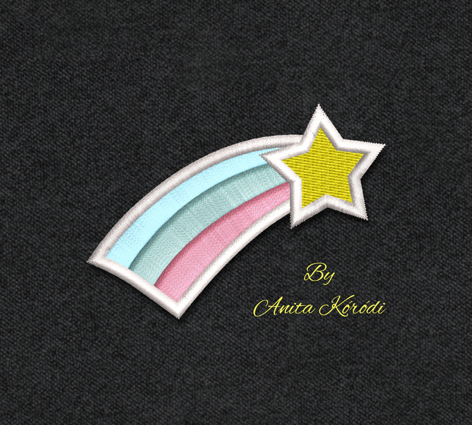 Rainbow Embroidery Design For Machine Mini Unicorn Pes File Star Digital