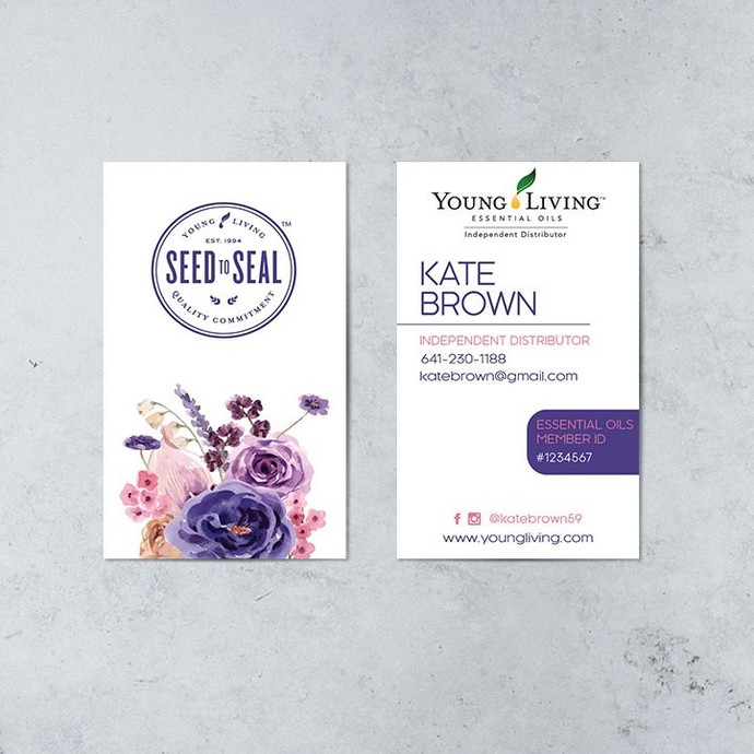 Young Living Business Card, Seed to Seal Business Cards, Essential Oil Cards,