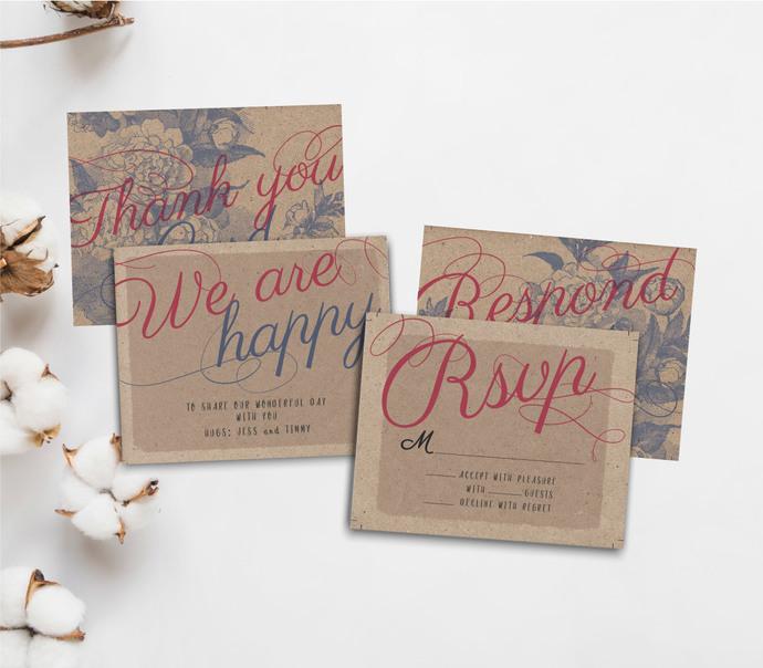 Rustic Vintage Wedding Template Set, Custom Template, Printable Kit 12