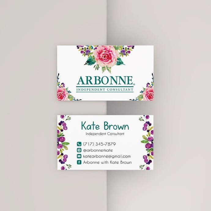 Floral Arbonne Business Card, Personalized Arbonne business card, Arbonne AB31