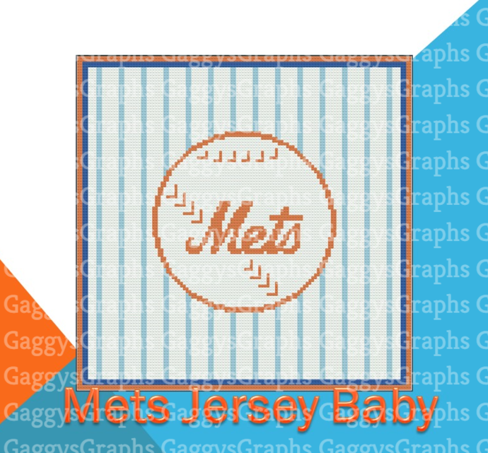 Little Mets Fan, Baby Blanket, SC, Graph + Color Coded written directions