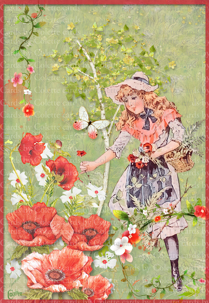 Girl in a Garden of Poppies Digital Collage Greeting Card2679