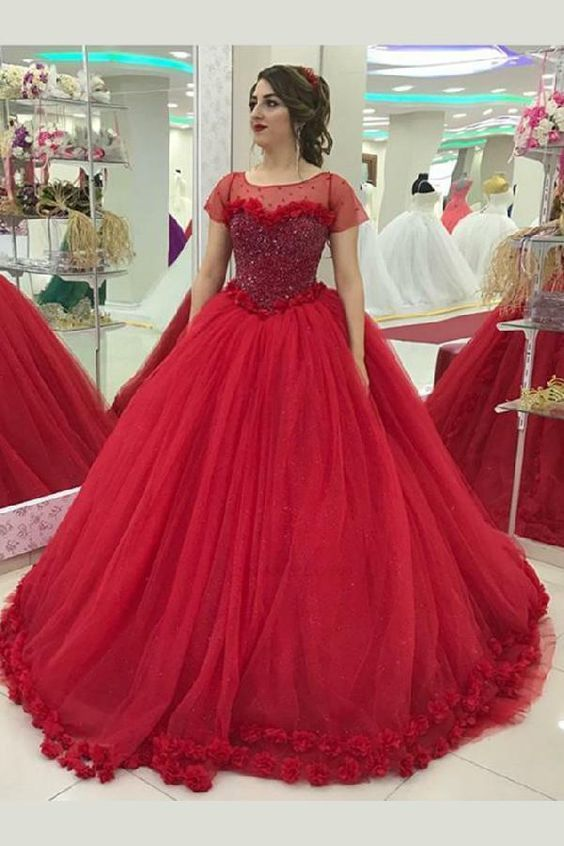 red ball gown prom dress 2021 vestido de graduacion beaded arabic handmade