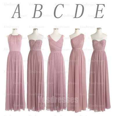 mismatched bridesmaid dresses pink long chiffon cheap elegant wedding party