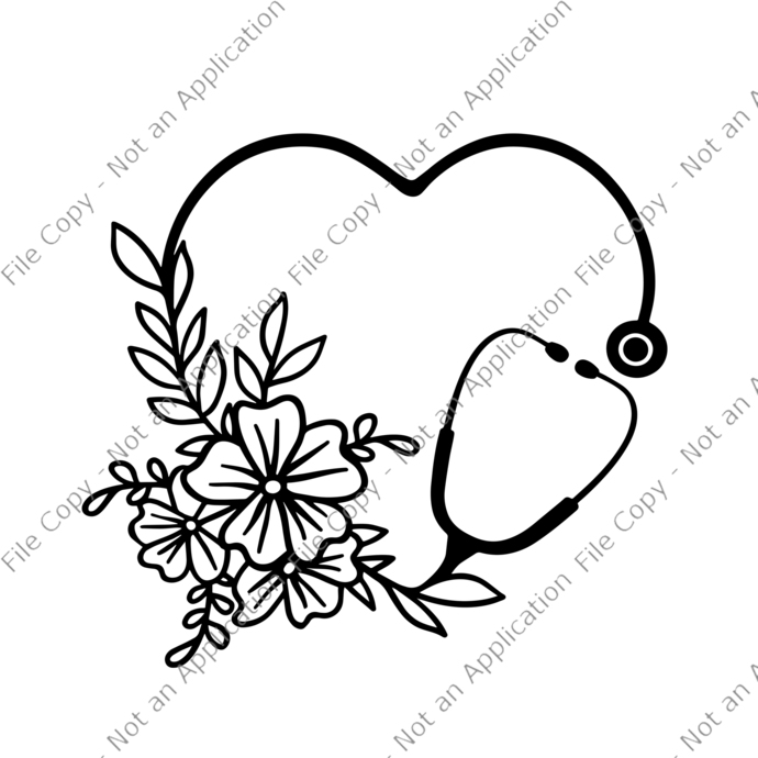 Floral Stethoscope, Floral Stethoscope PNG, Floral Stethoscope SVG File, nurse