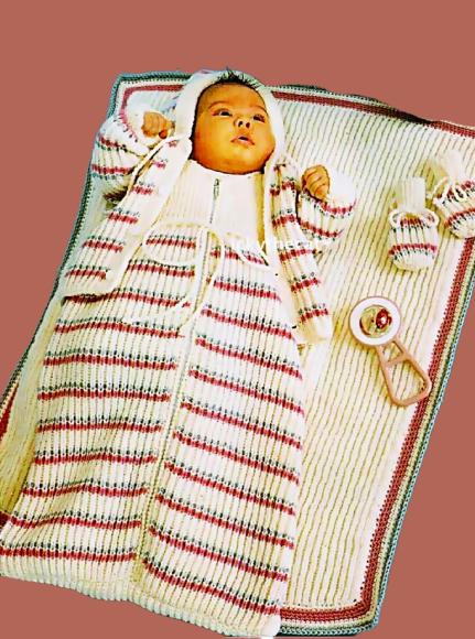 Instant PDF Digital Download Vintage Knitting Pattern Baby Sleeping/Bag