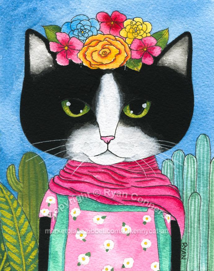 Tuxedo Frida Catlo Portrait Original Cat Folk Art Gouache Painting