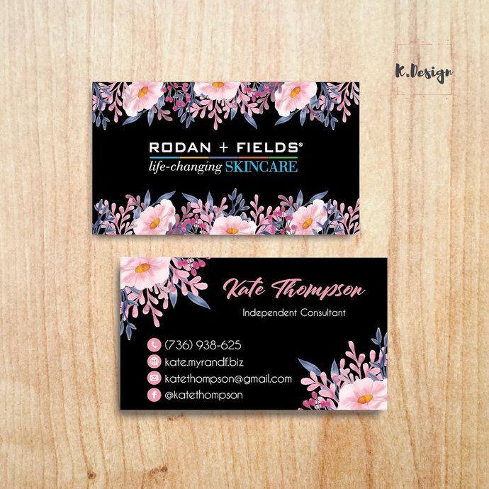 Black Floral Rodan & Fields Business Cards, Personalized Rodan & Fields Cards