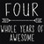 Four Whole Years Of Awesome Svg, 4th Birthday, Four Year Old Svg, Happy 4th