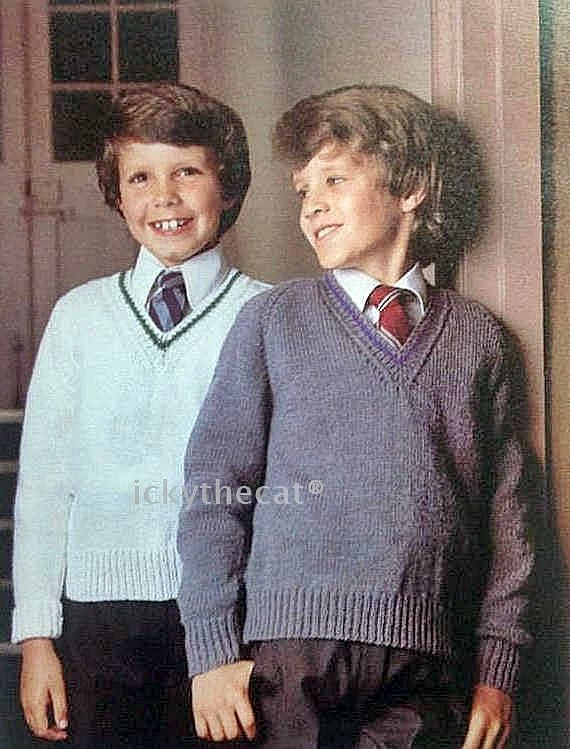 Instant Vintage Knitting Pattern Boys V Neck School Uniform Sweater Jumper