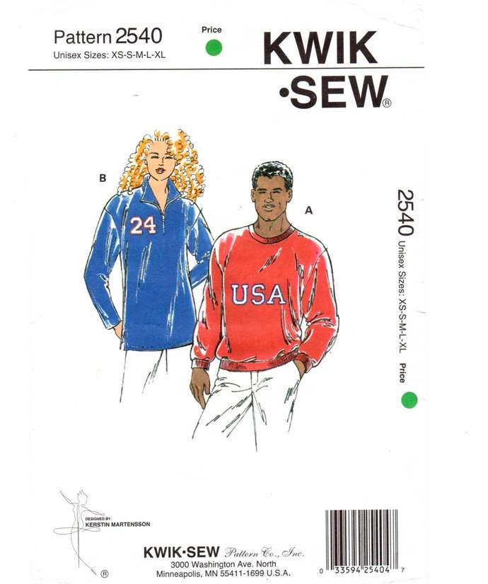 Kwik Sew 2540 Men/Misses Pull-Over Shirt 90s Vintage Sewing Pattern Uncut Size