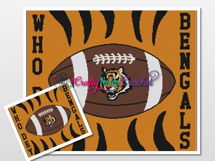 Bengals Who Dey 2 Pattern Graph With Single Crochet Written