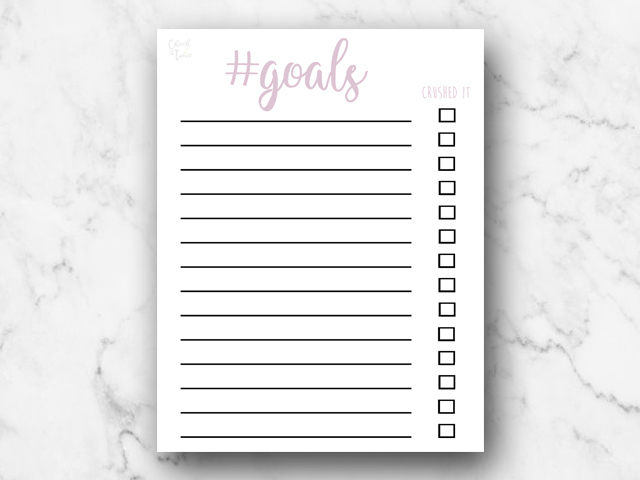Free Download | Hashtag #Goals Checklist