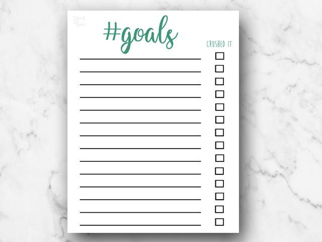 Free Download | Hashtag #Goals Green Checklist