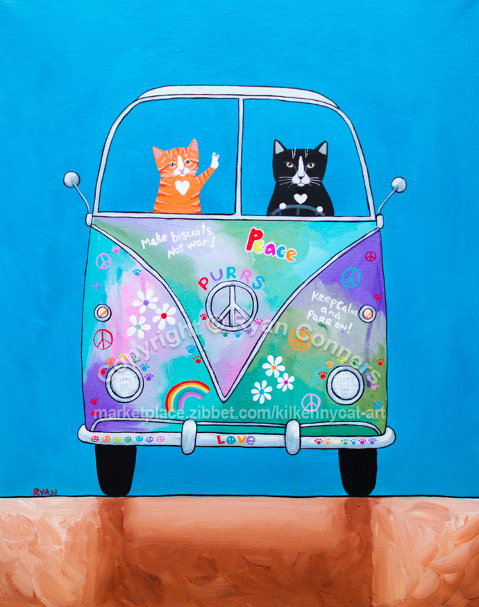 "16"" x 20"" Hippie Love Bus Road Trip Original Cat Folk Art Painting"