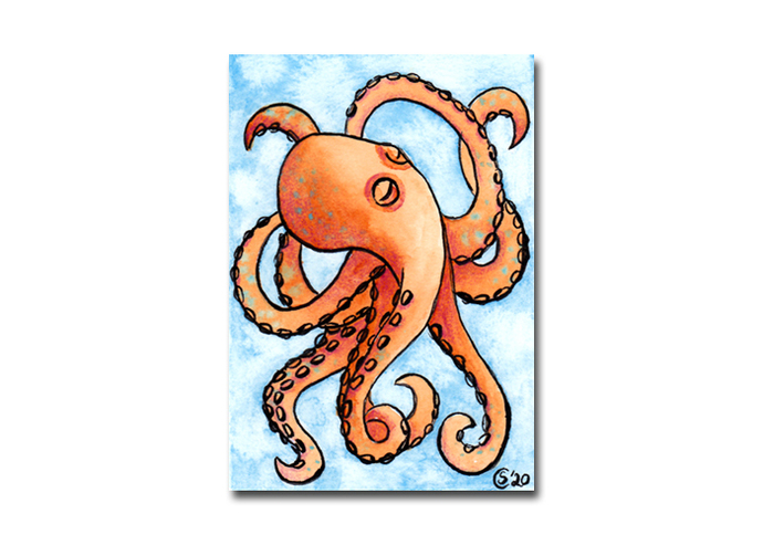 OCTOPUS watercolor ink miniature painting Sandrine Curtiss ORIGINAL art ACEO