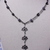 Black and grey necklace with lotus beads focal beads on black chain