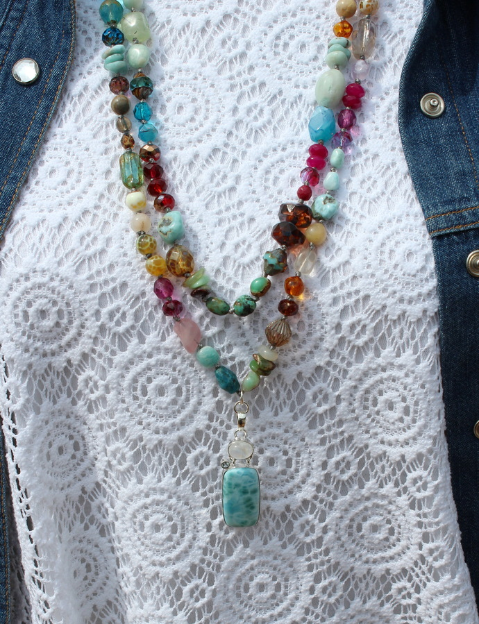 Dazzling Divine Feminine Mix stone Long Beaded Necklace with Pendant Hand knot