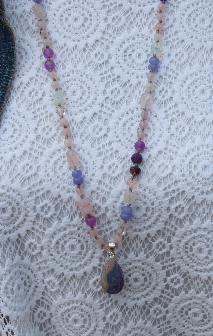Mexican Laguna Lace Agate Long Beaded Necklace with Pendant by KnottedUp
