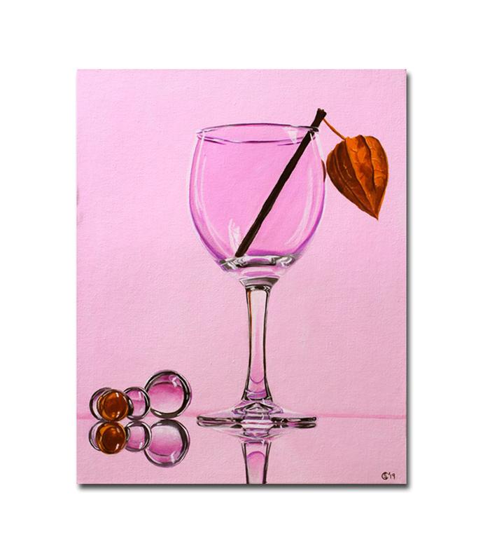 "GLASS wine bead casein still life painting Sandrine Curtiss ORIGINAL art 8x10"""