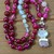 Hot Pink Beaded Necklace with Pendant 20 inches Hand knot jewelry by KnottedUp