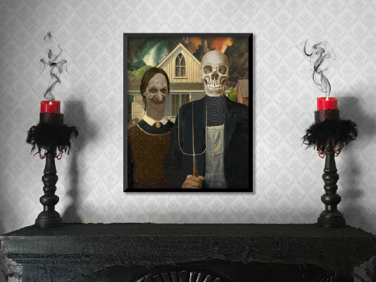 "Neo Noir American Gothic - Art Print - 16"" x 20"" - Halloween DIY - Perfect for"