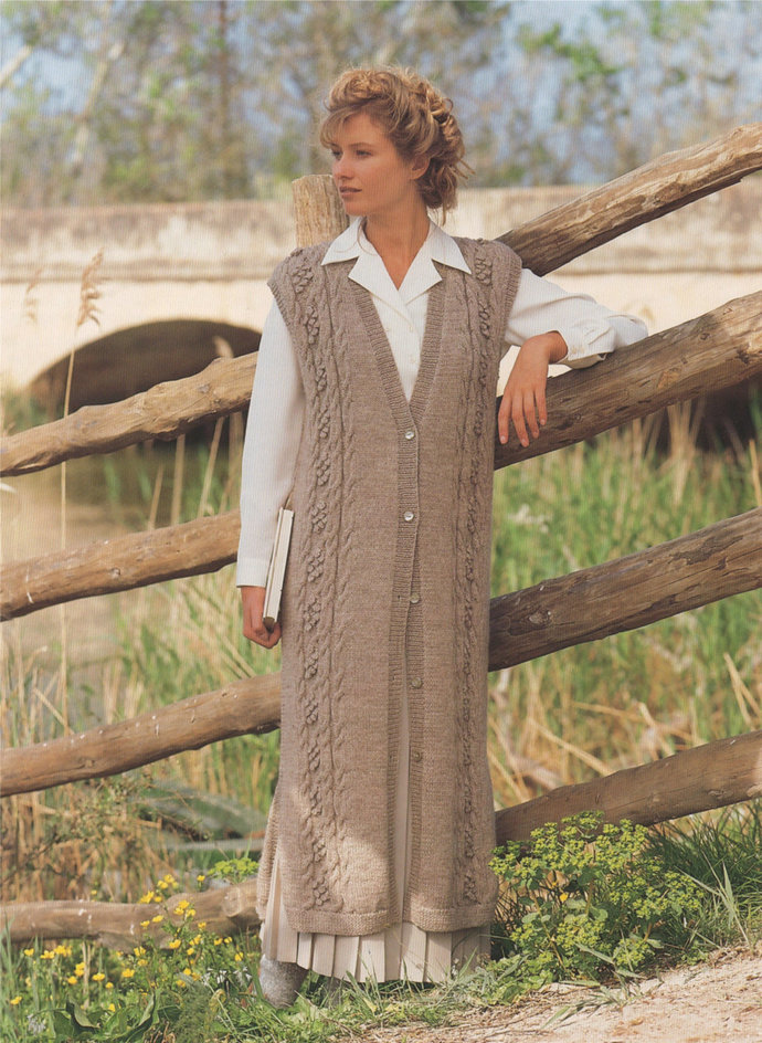 Womens Long Waistcoat Knitting Pattern PDF Ladies 28, 30, 32, 34, 36 and 38 inch