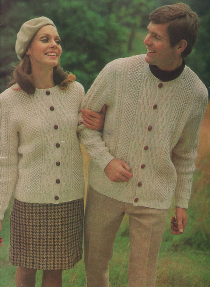 Cardigan Knitting Pattern PDF Aran Style, Womens and Mens 36, 38, 40, 42, 44 and