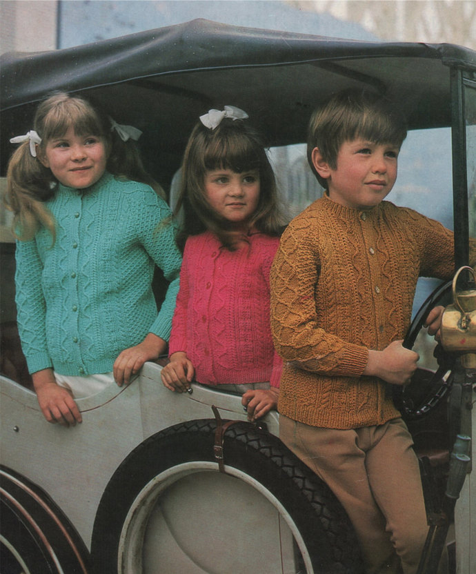 Childrens Patterned Cardigan Knitting Pattern PDF Boys or Girls 24, 26, 28 and