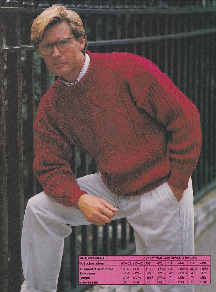 Mens Patterned Crew Neck Sweater / Jumper Knitting Pattern PDF Mans 38 - 40, 42,