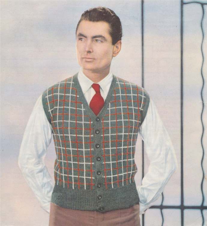 Mens Waiscoat Knitting Pattern PDF Mans 38 inch chest, Check Waistcoat, Mens