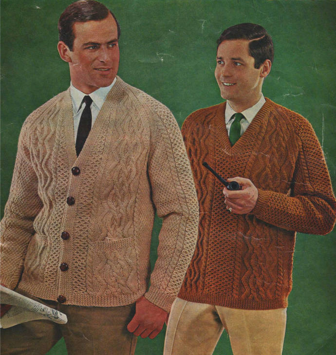 Mens Aran V Neck Sweater and Cardigan Knitting Pattern PDF Mans 38, 40, 42 and