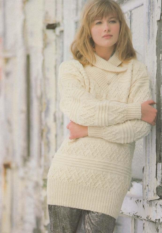 Womens Aran Sweater Knitting Pattern PDF with Wrap Neck Collar, Ladies 30, 32,
