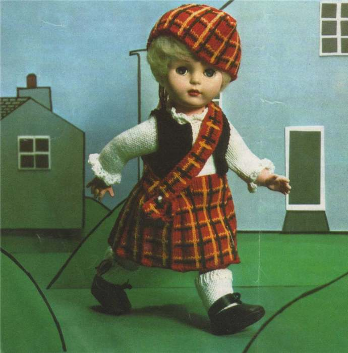 Dolls Clothes Knitting Pattern PDF for 18 inch Doll, Scottish Dolls Outfit