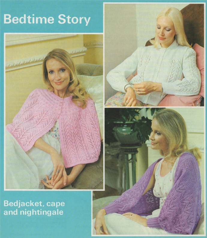 Womens Bedjacket, Cape and Nightingale Wrap Knitting Pattern PDF Ladies 32, 34,