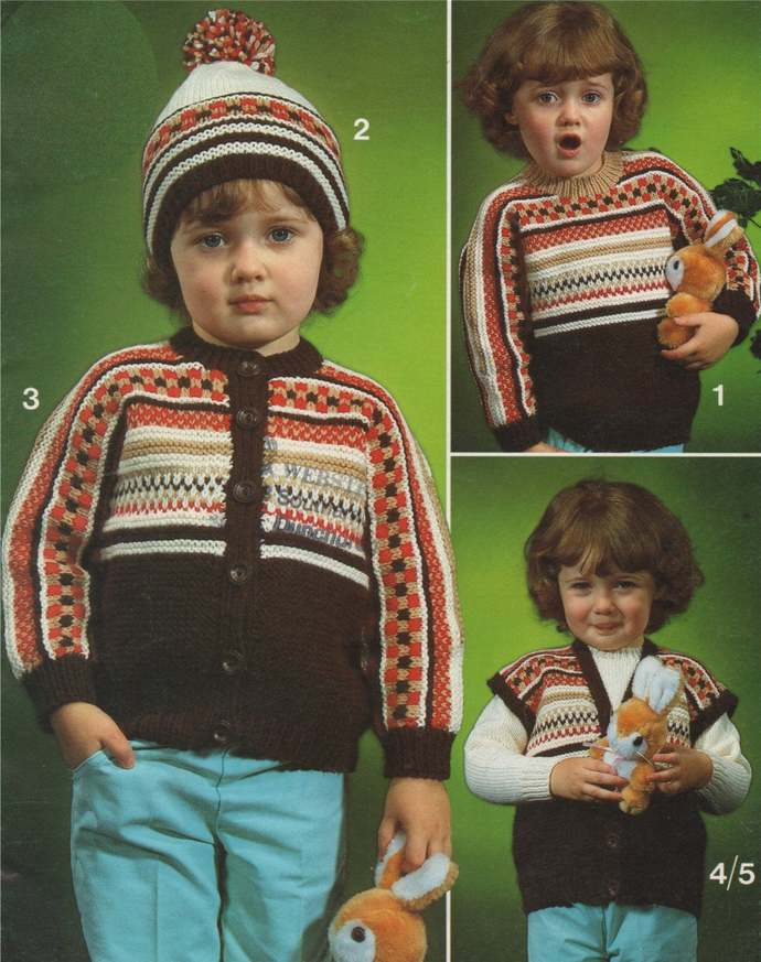Fair Isle Aran Sweater, Cardigan, Gilet and Hat Knitting Pattern PDF Toddlers