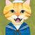 The Happy Ginger Sailor Portrait Original Cat Folk Art Gouache Painting