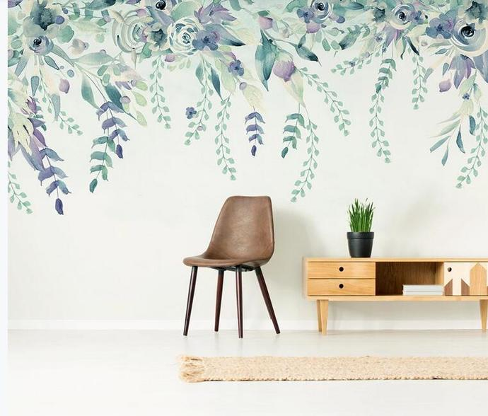 Watercolor Hanging Tropical Leaves Wallpaper , Fresh Flowers and Leaves Wall