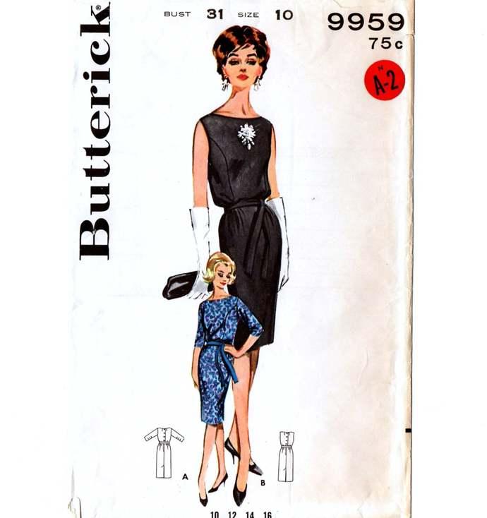 Butterick 9959 Misses Sheath Dress 60s Vintage Sewing Pattern Uncut Size 10 Bust