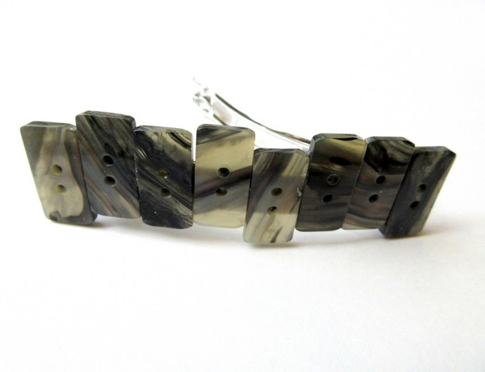 Rectangle Button Barrette FREE US SHIPPING